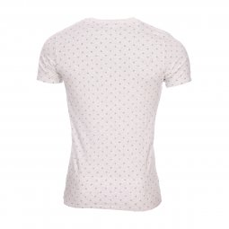 Tee-shirt col rond Scotch and Soda en coton stretch gris chiné à motifs bleu marine