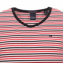 Tee-shirt col V Scotch and Soda en coton stretch rayé blanc rouge et noir