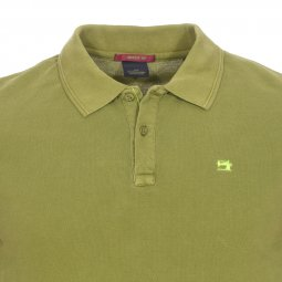 Polo manches courtes Scotch and Soda en piqué de coton vert olive
