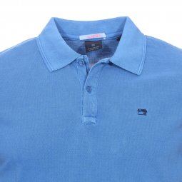 Polo Scotch and Soda classic en piqué de coton bleu indigo