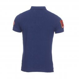Polo Superdry Classic Superstate en piqué de coton bleu marine brodé rouge et orange