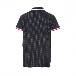 Polo Teddy Smith Junior Pily en coton piqué bleu marine à cercles blancs