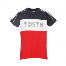 Tee-shirt col rond Teddy Smith Junior Thou en coton bleu marine, rouge et blanc