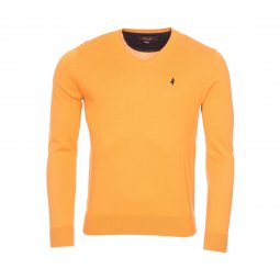 Pull col V MCS en coton orange