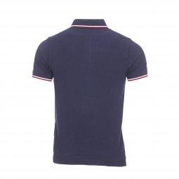 994dbf98be ... Polo Tommy Hilfiger Tipped en piqué de coton bleu marine à liserés  tricolores