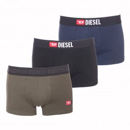 f1554a1b074b3 Lot de 3 boxers Diesel Damien en coton stretch noir, bleu pétrole et vert  kaki ...