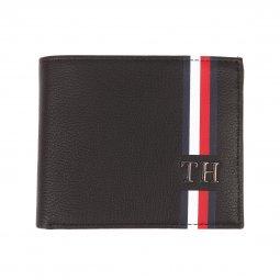 4628d8876ec Portefeuille italien 2 volets Corporate Mini Tommy Hilfiger en cuir grainé  noir ...