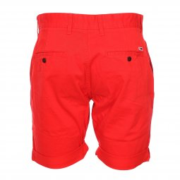 Short Tommy Jeans Essential Chino en coton stretch rouge