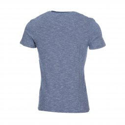 Tee shirt col rond Lee Cooper Adrian en coton bleu marine à fines rayures blanches