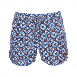 Short de bain Scotch & Soda à imprimé graphique bleu et orange