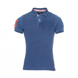 Polo Superdry Superstate en coton piqué bleu denim à détails contrastants orange