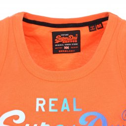 Débardeur col rond Superdry Authentic Fade en coton orange floqué