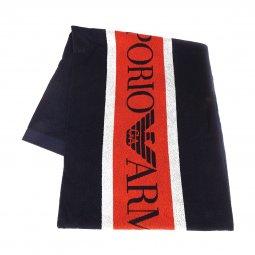 2438337784 Serviette de bain Emporio Armani en bouclettes de coton bleu marine à bande  orange et rayures