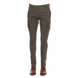 Pantalon cargo Petrol Industries en coton stretch vert kaki