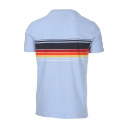 Tee-Shirt col rond Superdry Orange Label Cali Chestband en coton bleu ciel chiné à rayures