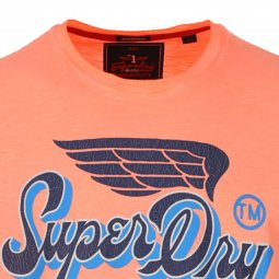 Tee-Shirt col rond Superdry High Flyers Slub en coton orange fluo délavé floqué