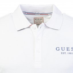 Polo Guess Digby en coton piqué stretch blanc