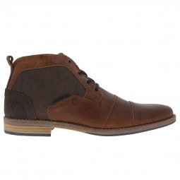 Bottines Bullboxer en cuir et toile marron