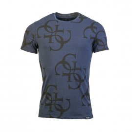 Tee-shirt col rond Guess All Over en coton stretch bleu marine floqué du logo en noir