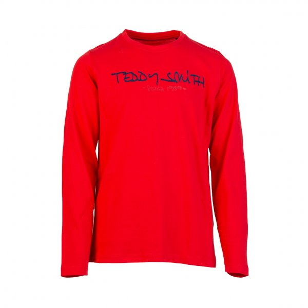 Tee-shirt manches longues Teddy Smith Ticlass en coton rouge floqué en feutrine