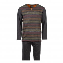 Pyjama long Christian Cane Sadi en coton : tee-shirt col tunisien manches longues marron rayé et pantalon marron