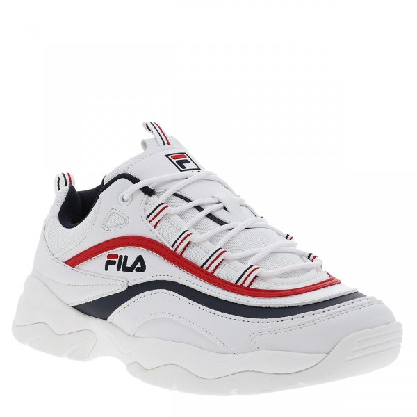 Baskets Fila Ray Low blanche à liserés rouges et bleu marine