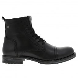 Boots Jack and Jones Russel noir à empiècements en cuir de vache