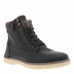 Bottines Mustang gris anthracite doublée en sherpa beige