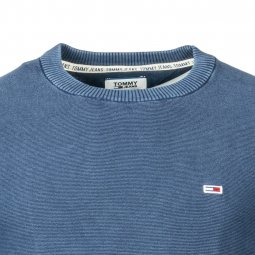 Pull col rond Tommy Jeans Washed en coton piqué bleu marine