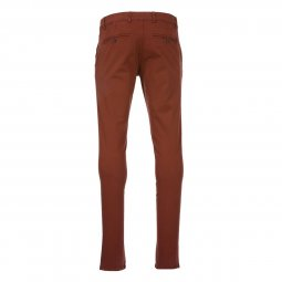 Pantalon chino Delahaye en coton stretch rouge brique