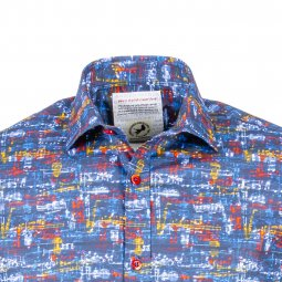 Chemise ajustée A Fish Named Fred Music Notes en coton stretch bleu à motifs notes de musique