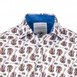 Chemise ajustée A Fish Named Fred Brown Guitars en coton stretch blanc à motifs guitares
