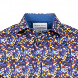 Chemise ajustée A Fish Named Fred Sax Player Artist en coton stretch bleu marine à motifs multicolores