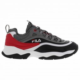 Baskets Fila Ray CB Low grises, rouges, noires et blanches