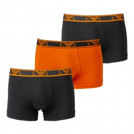 Lot de 3 boxers Emporio Armani en coton stretch orange et noirs