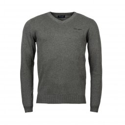 Pull col V Teddy Smith Pulser en coton gris anthracite chiné