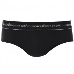 Lot de 3 slips Eminence en coton stretch Noir à bordures colorées