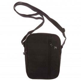 Petite sacoche zippée Serge Blanco noire à rayures ton sur ton rCnNoju9Bj
