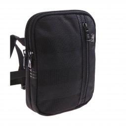 Petite sacoche Serge Blanco en toile noire à 2 compartiments X7Kn0KRW