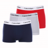 Lot de 3 shortys Calvin Klein en coton stretch blanc, bleu et rouge