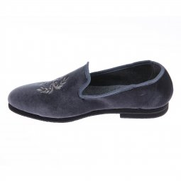 Mocassins Mariner en velours anthracite brodé