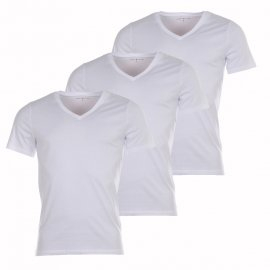 Lot de 3 Tee-shirts Col V Tommy Hilfiger en coton stretch blanc