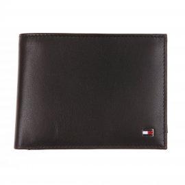 Portefeuille européen Tommy Hilfiger Eton à 3 volets en cuir lisse noir estampillé à l'avant XvfNBwVy