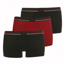 Lot de 3 shortys Confort Stretch Athena Noir et Rouge