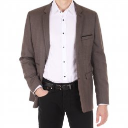 Blazer ajusté en Oxford Marron