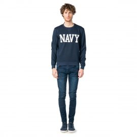 Sweat col rond sérigraphié NAVY