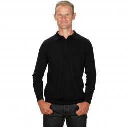 Pull Col Polo Cachemire Homme Noir