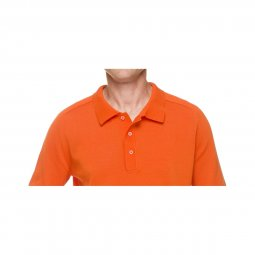 Pull Orange Col Polo Homme Coton