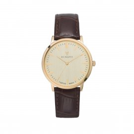 Montre Elite Croco - Marron Champagne Or