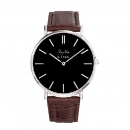 Montre homme cuir marron croco
